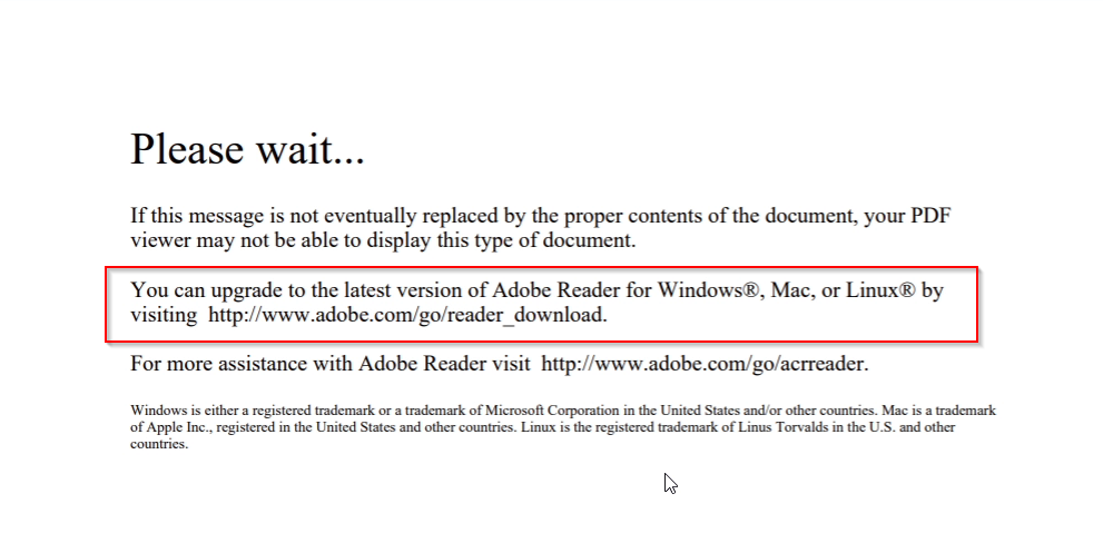 Browser PDF Fail Loading Message